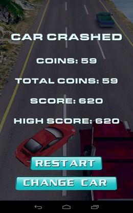 Конец игры и полученые очки - Traffic Rush для Android