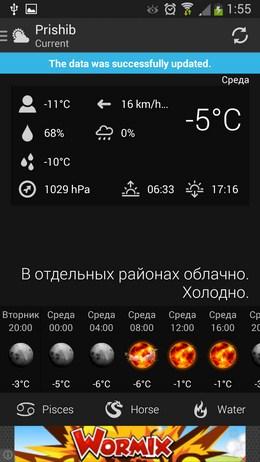 Приложение с виджетами погоды UNIWeather для Android