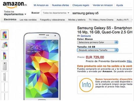 Предзаказ на Samsung Galaxy S5 на сайте Amazon