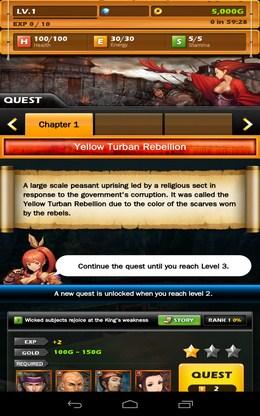 Выполняем квесты - Dynasty Warlord для Android