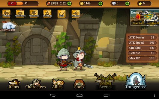 Главное меню - Knights N Squires для Android