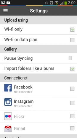 Настройки PhotoFeed для Android