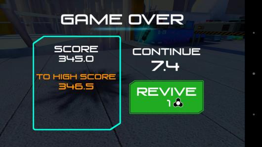 Результат игры - RunBot для Android