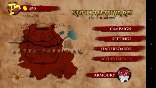 Меню - Kochadaiiyaan: Reign of Arrows для Android