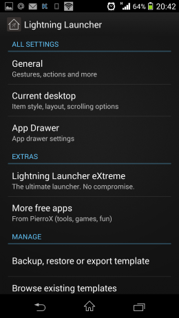 Настройки - Inspire Launcher для Android
