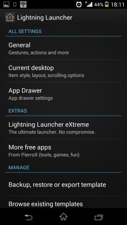 Настройки - Lightning Launcher для Android