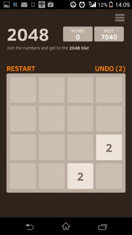 Начало игры - 2048 для Android