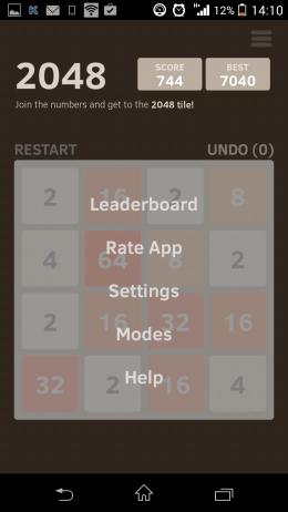 Меню - 2048 для Android