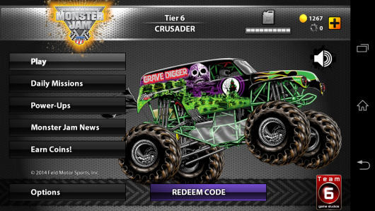 Меню - MonsterJam для Android