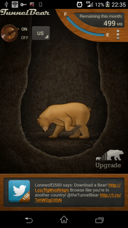 Активное подключение - TunnelBear VPN для Android