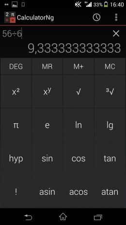 Дополнительные функции - CalculatorNg для Android
