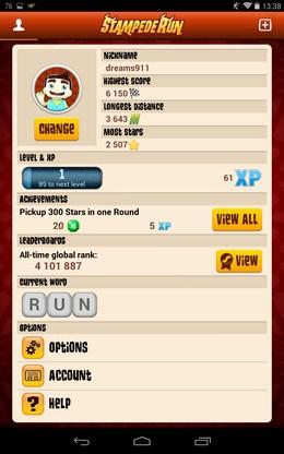 Ваша игровая статистика - Stampede Run для Android