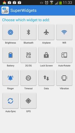 Выбор виджета для одиночной кнопки - SuperWidgets для Android
