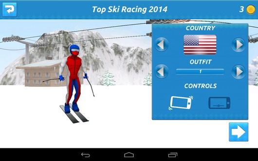Спортивный симулятор горных лыж Top Ski Racing 2014 для Android