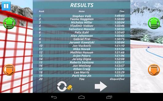 Результат спуска - Top Ski Racing 2014 для Android