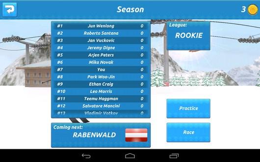 Турнирная таблица - Top Ski Racing 2014 для Android