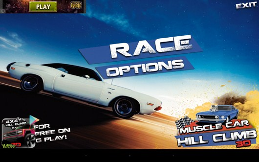 Начало игры - 3d Hill Climb Muscle Cars 2014 для Android