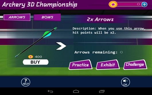 Покупка стрел - Archery 3D Championship для Android