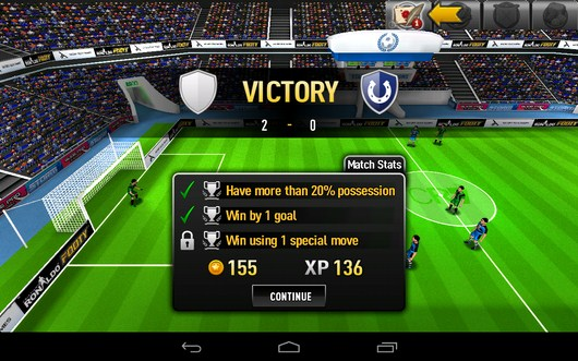 Победа и итоги матча - CR Footy для Android