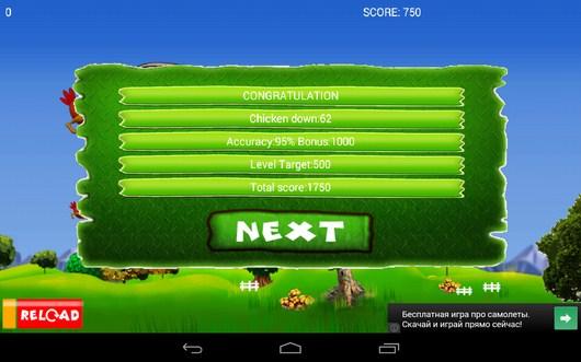 Итоги уровня - Chicken Hunt для Android