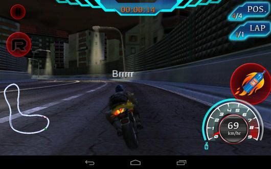 Используем ускорение - Fast Bike Racing для Android