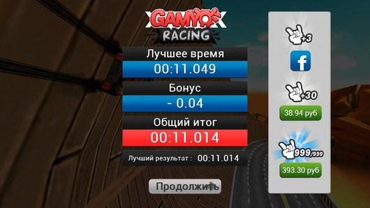 Итог гонки - Gamyo Racing для Android