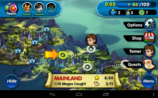 Карта и меню - Monster Galaxy для Android