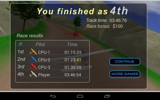 Итоги гонки - Plane Race для Android
