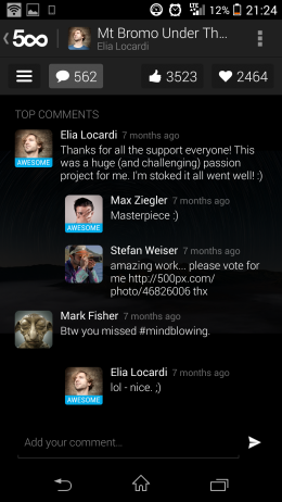 Комментарии - 500px для Android