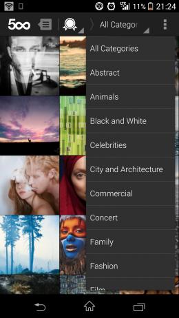 Категории - 500px для Android