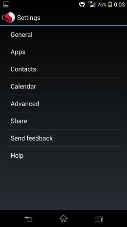 Настройки - Snapdragon Glance для Android