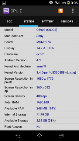 Система - CPU-Z для Android