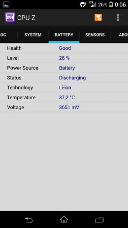 Аккумулятор - CPU-Z для Android
