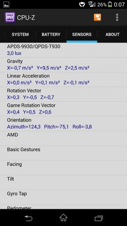 Сенсоры - CPU-Z для Android