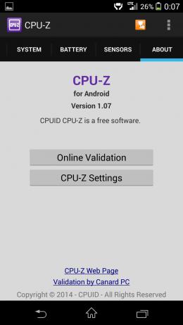 О приложении - CPU-Z для Android