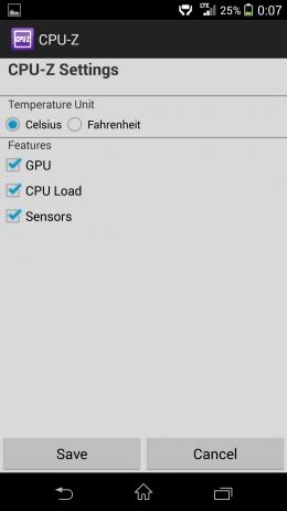 Настройки - CPU-Z для Android