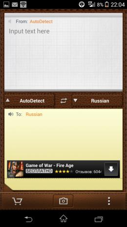 Поле ввода - CamDictionary для Android