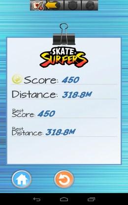Итоги игры - Skate Sufers для Android