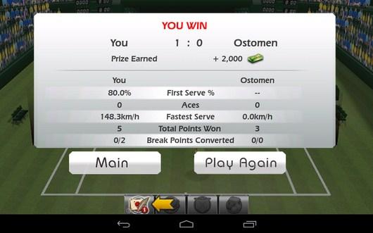 Результат и победа - Tennis 3D для Android