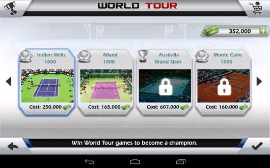 Выбор турнира - Tennis 3D для Android