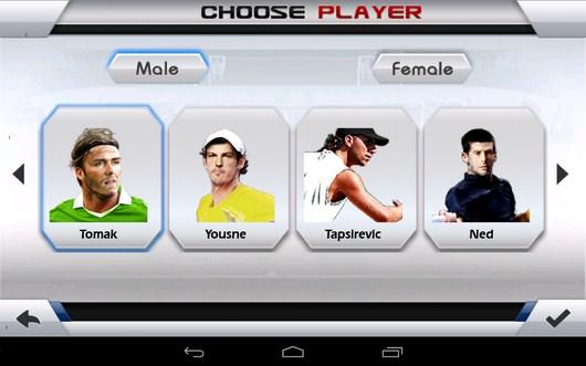 Выбор спортсмена - Tennis 3D для Android