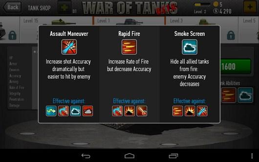 Возможности- War of Tanks для Android
