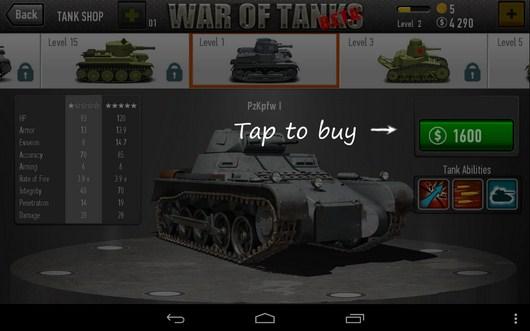 Покупка - War of Tanks для Android