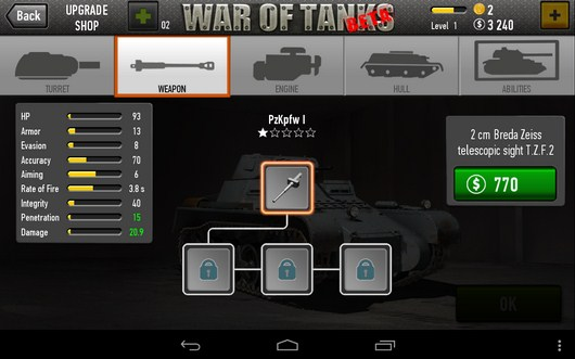 Апгрейд - War of Tanks для Android