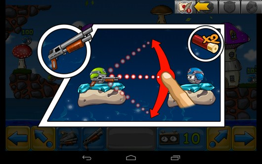 Обучение стрельбе - Warlings: Battle Worms для Android