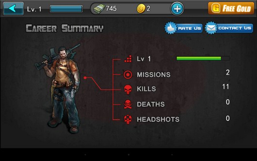 Параметры бойца - Zombie Assault Sniper для Android