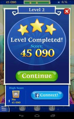 Результат уровня - Bubble Witch 2 Saga для Android