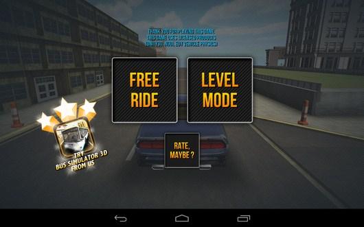 Выбор режима игры в симуляторе Car Simulator 3D для Android