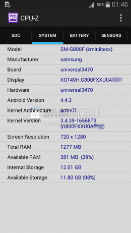 CPU-Z Galaxy S5 Mini