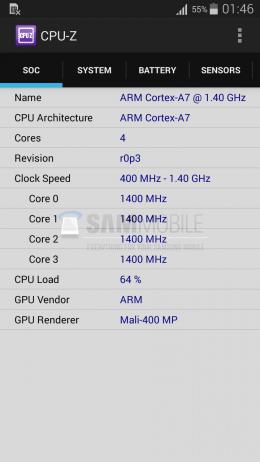 CPU-Z Galaxy S5 Mini